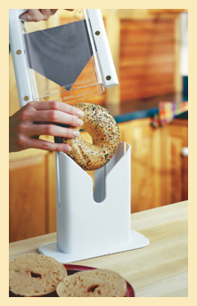 placing bagel in the base